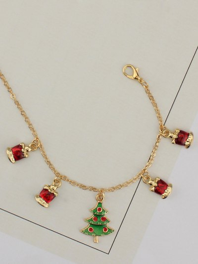 Christmas Tree Rhinestone Charm Bracelet - GOLDEN  Mobile