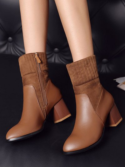 Suede Panel Chunky Heel Boots - BROWN 38 Mobile