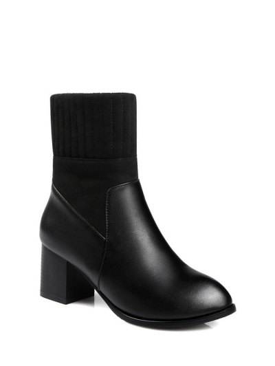 Suede Panel Chunky Heel Boots - BLACK 37 Mobile