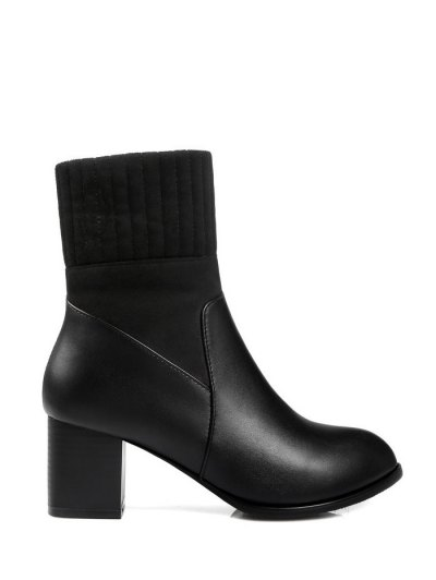 Suede Panel Chunky Heel Boots - BLACK 38 Mobile