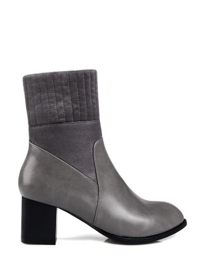 Suede Panel Chunky Heel Boots - GRAY 39 Mobile