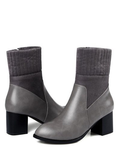 Suede Panel Chunky Heel Boots - GRAY 37 Mobile