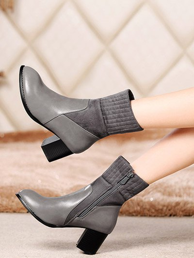 Suede Panel Chunky Heel Boots - GRAY 38 Mobile