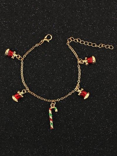 Christmas Bells Candy Cane Bracelet - GOLDEN  Mobile