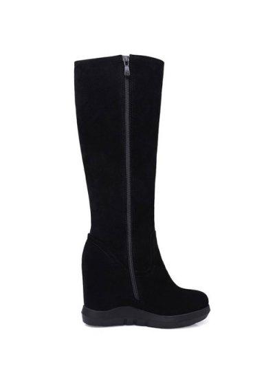 Rhinestone Metal Tassel Hidden Wedge Boots - BLACK 39 Mobile