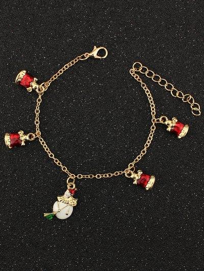 Christmas Snowman Bells Charm Bracelet - GOLDEN  Mobile