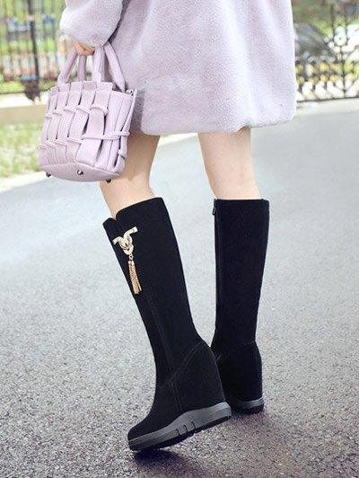 Rhinestone Metal Tassel Hidden Wedge Boots - BLACK 37 Mobile