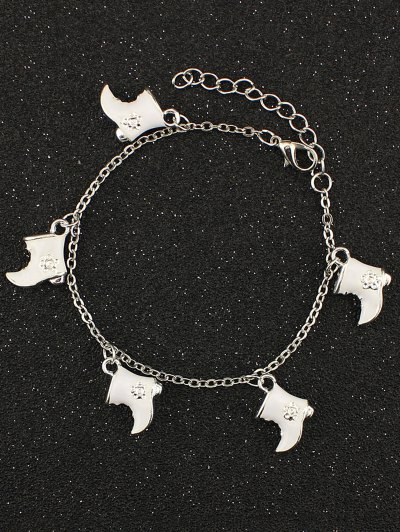 Christmas Boots Moon Charm Bracelet - WHITE  Mobile