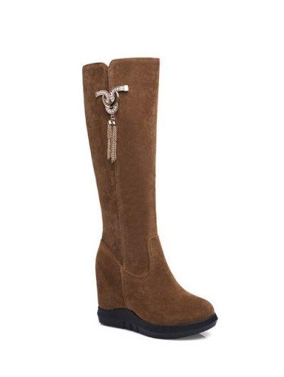 Rhinestone Metal Tassel Hidden Wedge Boots - BROWN 39 Mobile