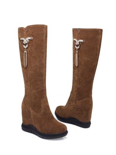 Rhinestone Metal Tassel Hidden Wedge Boots - BROWN 38 Mobile