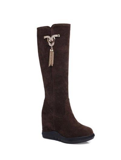 Rhinestone Metal Tassel Hidden Wedge Boots - DEEP BROWN 39 Mobile