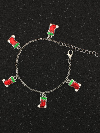 Christmas Gift Boots Charm Bracelet - SILVER  Mobile