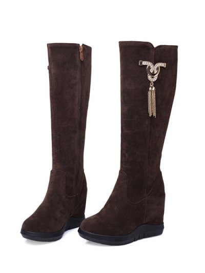 Rhinestone Metal Tassel Hidden Wedge Boots - DEEP BROWN 37 Mobile