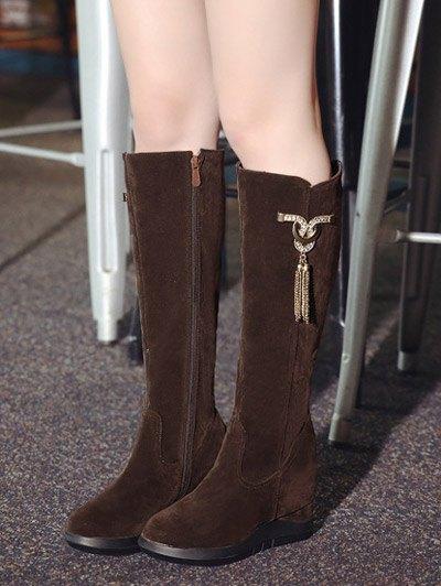 Rhinestone Metal Tassel Hidden Wedge Boots - DEEP BROWN 38 Mobile