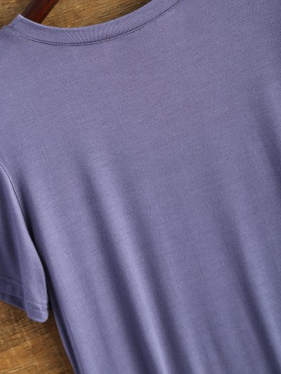 Short Sleeve Graphic Funny Tee - PURPLE 2XL Mobile