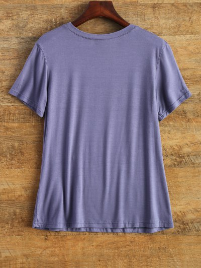 Short Sleeve Graphic Funny Tee - PURPLE L Mobile