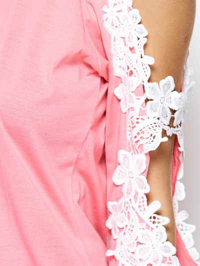 Cold Shoulder Lace Splicing T-Shirt - PINK S Mobile