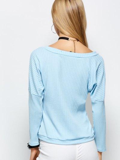 Plunging Neck Wrap T-Shirt - LIGHT BLUE S Mobile