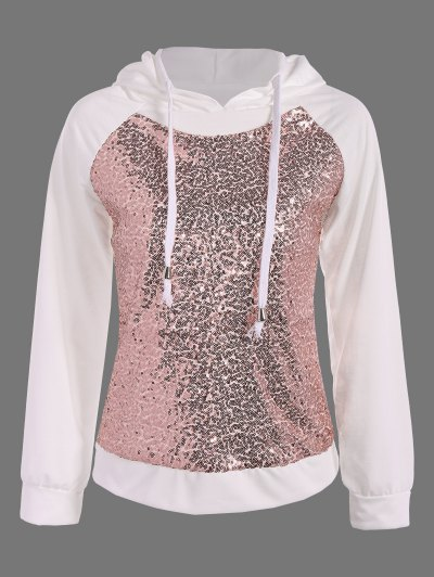 Sequined Drawstring Hoodie - WHITE S Mobile
