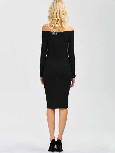 Off Shoulder Bodycon Long Sleeve Dress - BLACK M Mobile
