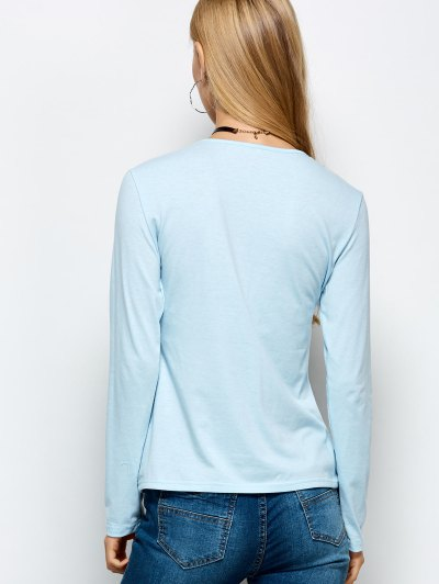 Long Sleeves Lace Up Tee - LIGHT BLUE XL Mobile
