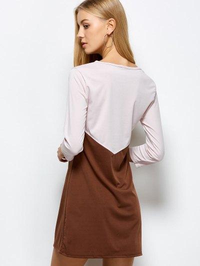 Two Tone Panel Dress - COFFEE WITH KHAKI S Mobile