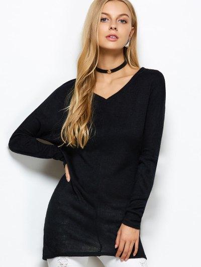 V Neck Batwing Sleeve Sweater - BLACK L Mobile