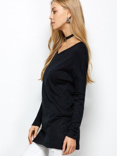 V Neck Batwing Sleeve Sweater - BLACK M Mobile
