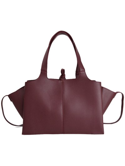 Straps PU Leather Winged Handbag - CLARET  Mobile