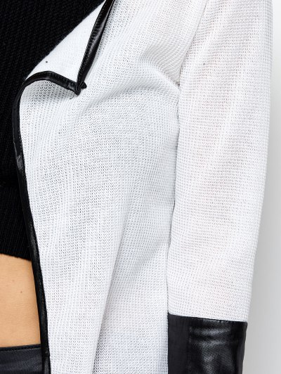 PU Leather Insert Long Sleeve Cardigan - WHITE L Mobile