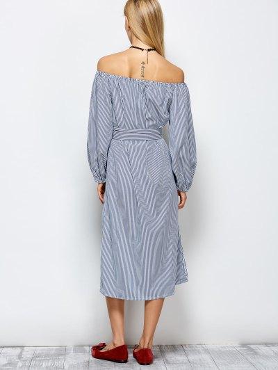 Striped Off Shoulder Side Slit Dress - STRIPE XL Mobile