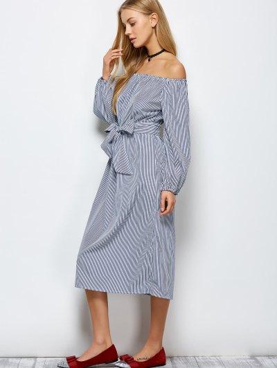 Striped Off Shoulder Side Slit Dress - STRIPE S Mobile