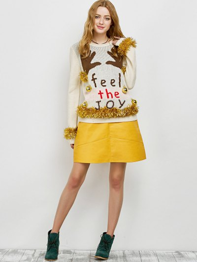 Christmas Crew Neck Pullover Sweater - BEIGE L Mobile
