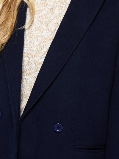 Laple Collar Maxi Coat - PURPLISH BLUE M Mobile