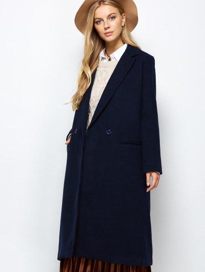 Laple Collar Maxi Coat - PURPLISH BLUE XS Mobile