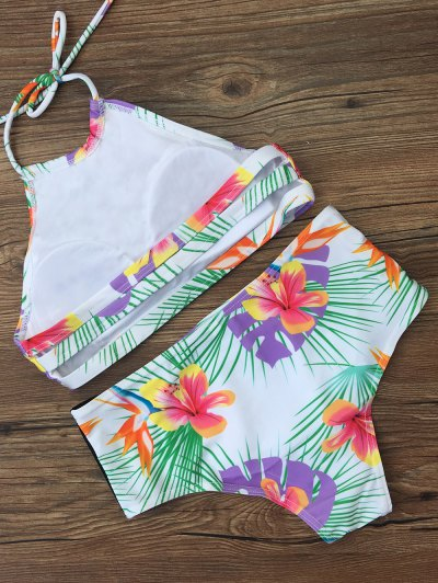 High Waist Tropical Print Bikini Set - WHITE S Mobile