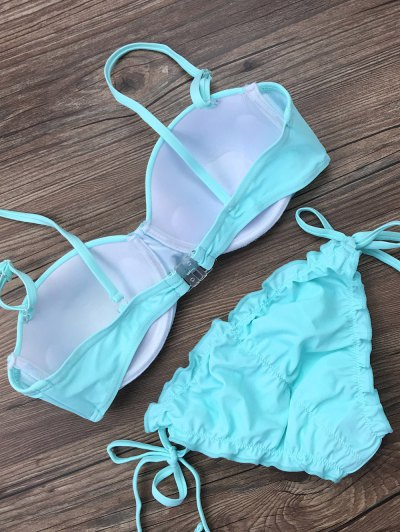 Cami String Ruffles Bikini Set - LIGHT BLUE XL Mobile
