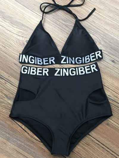High Waist Sports Letter Bikini Set - BLACK L Mobile