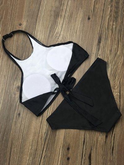 Halter Padded Letter Pattern Bikini - BLACK M Mobile