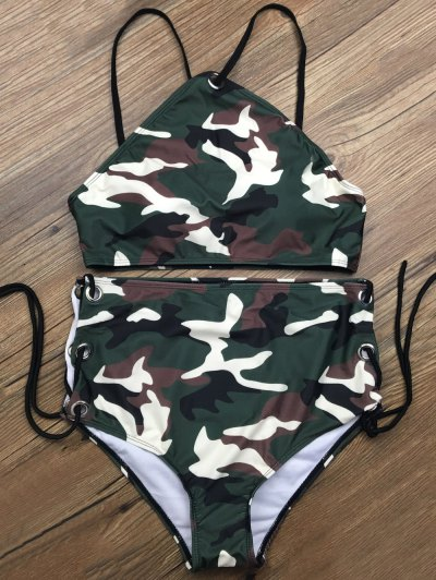 Lace Up High Waisted Camo Swimsuits - Camouflage Color