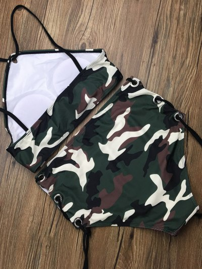 Lace Up High Waisted Camouflage Bikini - CAMOUFLAGE COLOR M Mobile