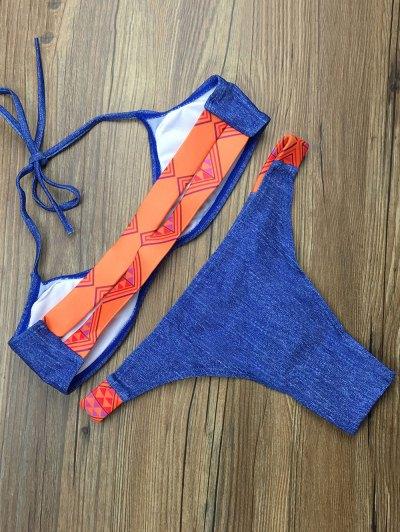 Tribal Print Halter Padded Bikini - BLUE M Mobile