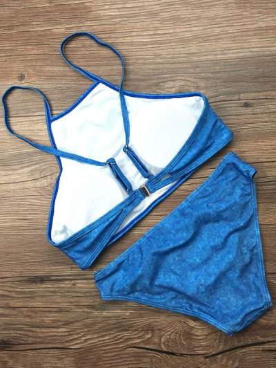 Padded High Collar Bikini Set - BLUE L Mobile