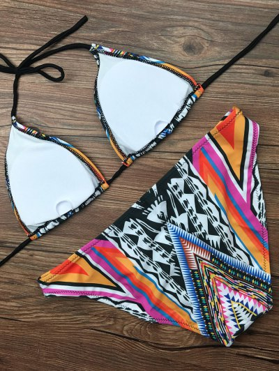 Tribal Pattern Halter Padded Bikini - COLORMIX L Mobile