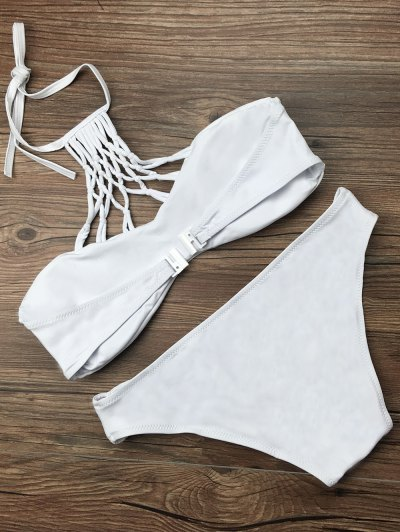 Cut Out Halter Strappy Bikini Set - WHITE L Mobile