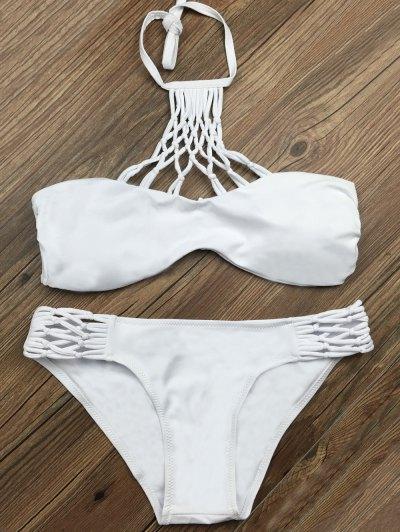 Cut Out Halter Strappy Bikini Set - WHITE M Mobile
