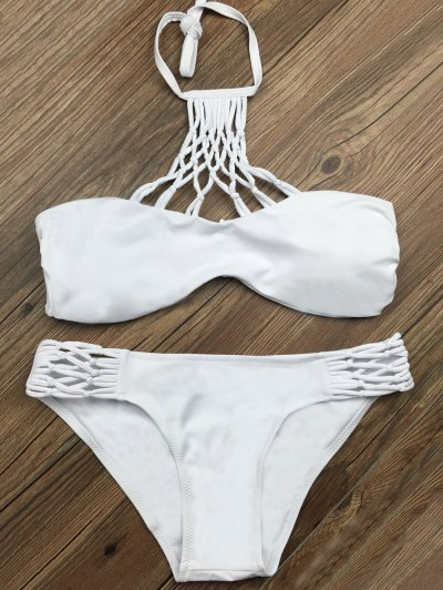 Cut Out Halter Strappy Bikini Set - WHITE S Mobile