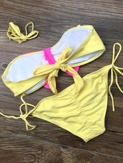 Bowknot Halter String Bikini Set - YELLOW M Mobile