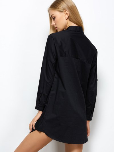 Long Sleeve Boyfriend Pocket Shirt - BLACK M Mobile