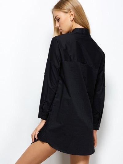 Long Sleeve Boyfriend Pocket Shirt - BLACK S Mobile